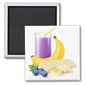 Banana blueberry smoothie square magnet