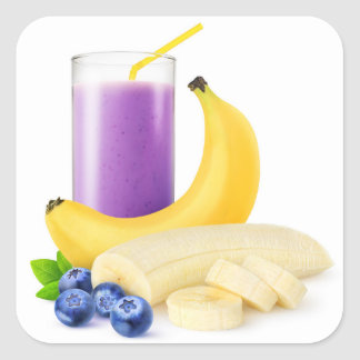 Banana blueberry smoothie square sticker