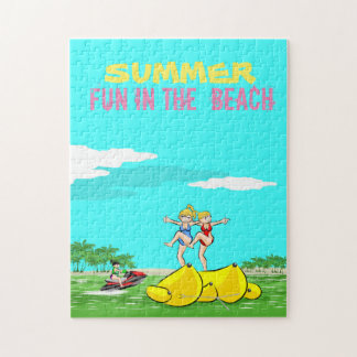 Banana boat group of girls having fun on summer jigsaw puzzle