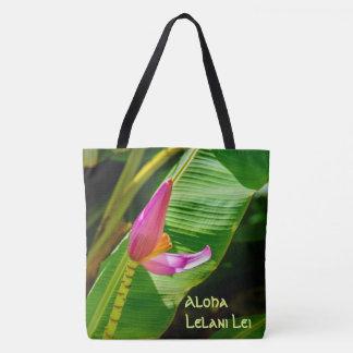 Banana Flower Hawaiian Monogram Beach Bag
