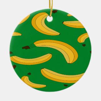 Banana fruit pattern round ceramic decoration