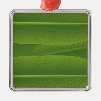 banana leaf Silver-Colored square decoration