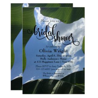 Banana Leaf Framed Sky Tropical Bridal Shower Card