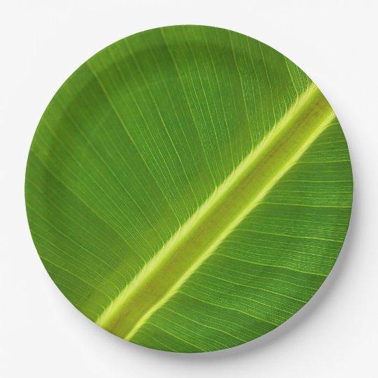 Banana Leaf Macro 9 Inch Paper Plate