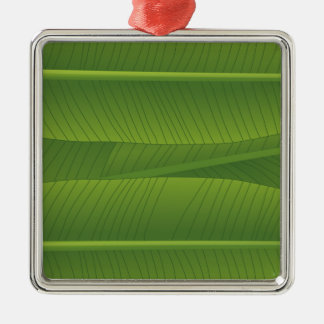 banana leaf Silver-Colored square decoration