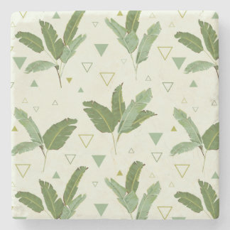 Banana Leaf With Triangles 2 Stone Coaster