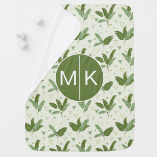 Banana Leaf With Triangles | Monogram Baby Blanket
