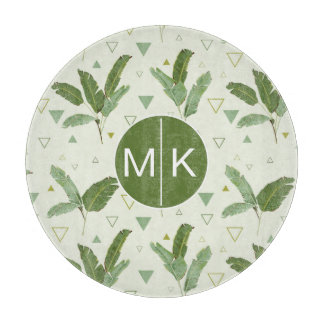 Banana Leaf With Triangles | Monogram Cutting Board