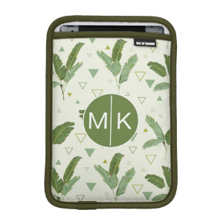 Banana Leaf With Triangles | Monogram iPad Mini Sleeve