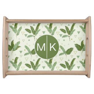 Banana Leaf With Triangles | Monogram Serving Tray