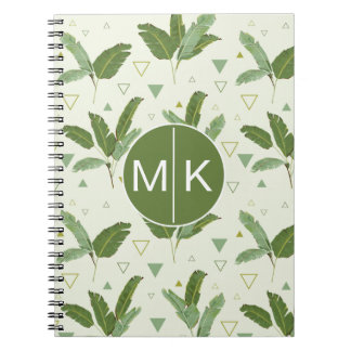 Banana Leaf With Triangles | Monogram Spiral Note Book
