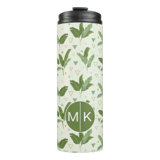 Banana Leaf With Triangles   Monogram Thermal Tumbler