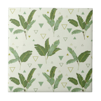 Banana Leaf With Triangles Small Square Tile