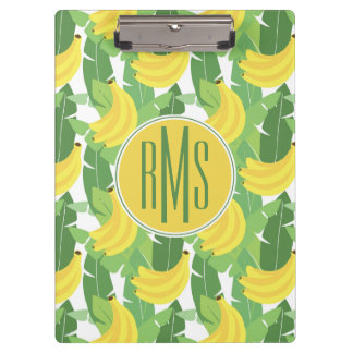 Banana Leaves And Fruit Pattern | Monogram Clipboard