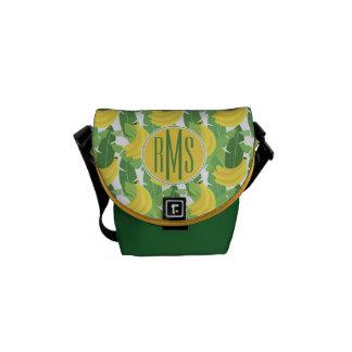 Banana Leaves And Fruit Pattern | Monogram Commuter Bag