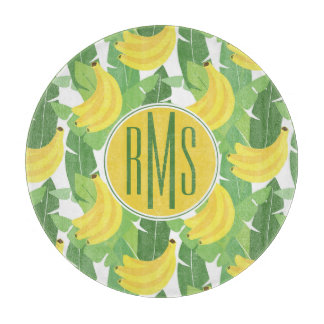 Banana Leaves And Fruit Pattern | Monogram Cutting Board