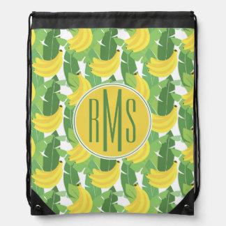 Banana Leaves And Fruit Pattern | Monogram Drawstring Bag