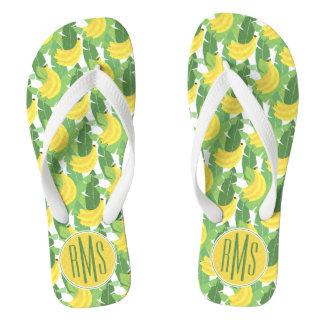 Banana Leaves And Fruit Pattern | Monogram Flip Flops