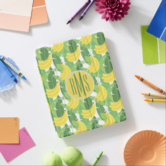 Banana Leaves And Fruit Pattern | Monogram iPad Cover