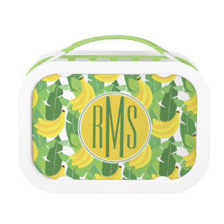 Banana Leaves And Fruit Pattern   Monogram Lunch Box