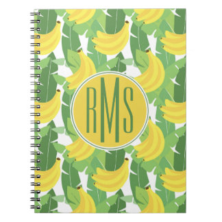 Banana Leaves And Fruit Pattern | Monogram Notebook