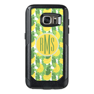 Banana Leaves And Fruit Pattern | Monogram OtterBox Samsung Galaxy S7 Case