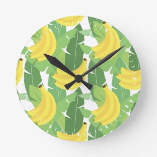 Banana Leaves And Fruit Pattern Round Clock