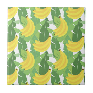 Banana Leaves And Fruit Pattern Small Square Tile