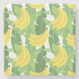 Banana Leaves And Fruit Pattern Stone Coaster