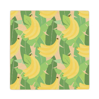 Banana Leaves And Fruit Pattern Wood Coaster