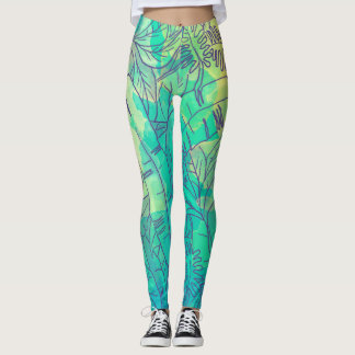 Banana leaves foliage tropical turquoise green leggings