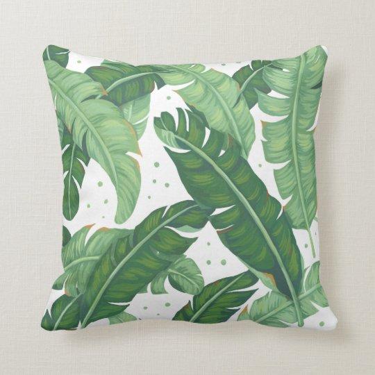 Banana Leaves Illustration Throw Pillow