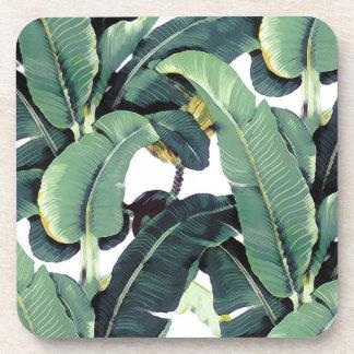 Banana Leaves Palm Tropical Hard Plastic Coaster
