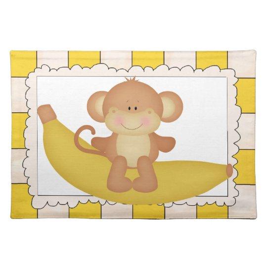 Banana Monkey cartoon place mat