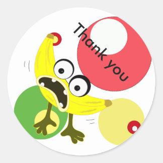 Banana Monster fruit illustration Round Sticker