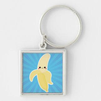 Banana on Blue Starburst Key Ring