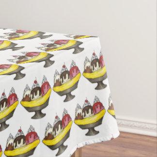 Banana Split Ice Cream Shoppe Sundae Foodie Print Tablecloth