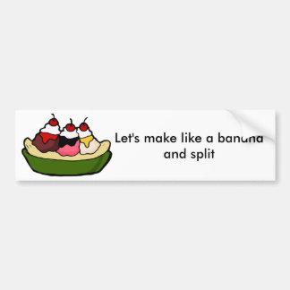 Banana Split Sweet Ice Cream Treat Car Bumper Sticker
