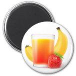 Banana strawberry shake 6 cm round magnet
