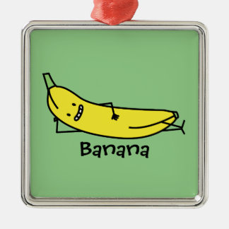 Banana that's smiling, laying down and relaxing christmas ornament