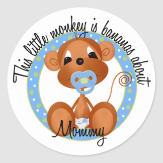 Bananas About Mommy Round Sticker