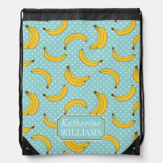 Bananas And Polk Dots | Add Your Name Drawstring Bag