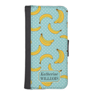 Bananas And Polk Dots | Add Your Name iPhone SE/5/5s Wallet Case