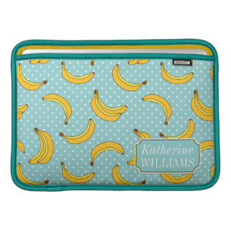 Bananas And Polk Dots | Add Your Name MacBook Sleeve
