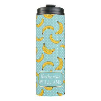 Bananas And Polk Dots | Add Your Name Thermal Tumbler