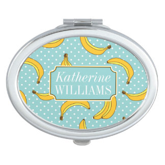 Bananas And Polk Dots | Add Your Name Travel Mirror