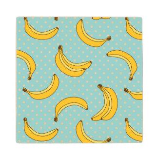 Bananas And Polk Dots Wood Coaster