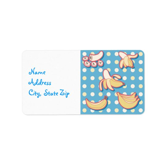 Bananas - Blue and Yellow Polk-a-dots Address Label