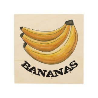 Bananas Yellow Banana Bunch Fruit Cooking Kitchen Wood Print