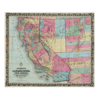 Bancroft's Map Of California, Nevada Poster